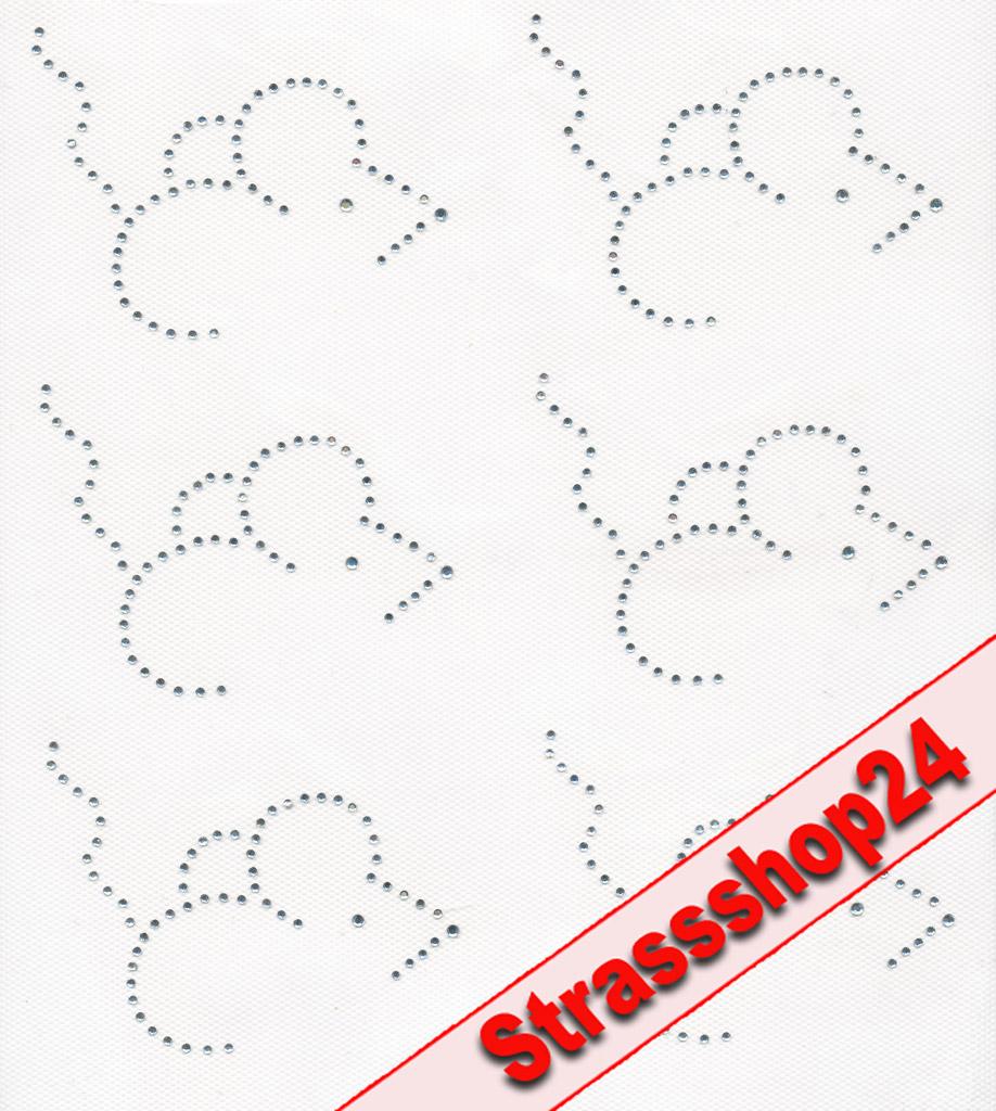 Strass Bügelbilder Hotfix Motive Applikationen  MAUS ca. 7,5 x 7,5cm