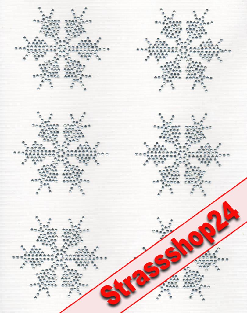 Strass Bügelbilder Hotfix Motive Applikationen EISKRISTALL ca. 7,2 x 7,2cm