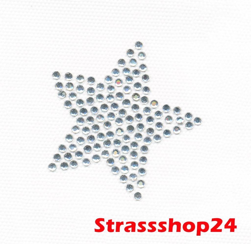 Strass Bügelbild Hotfix Motiv Applikation STERN ca. 5,4 x 5,4 cm