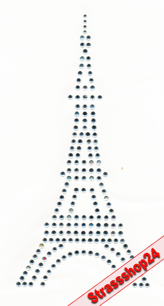 Strass Bügelbild Hotfix Motiv Applikation EIFELTURM ca.15,2 x 7,5 cm