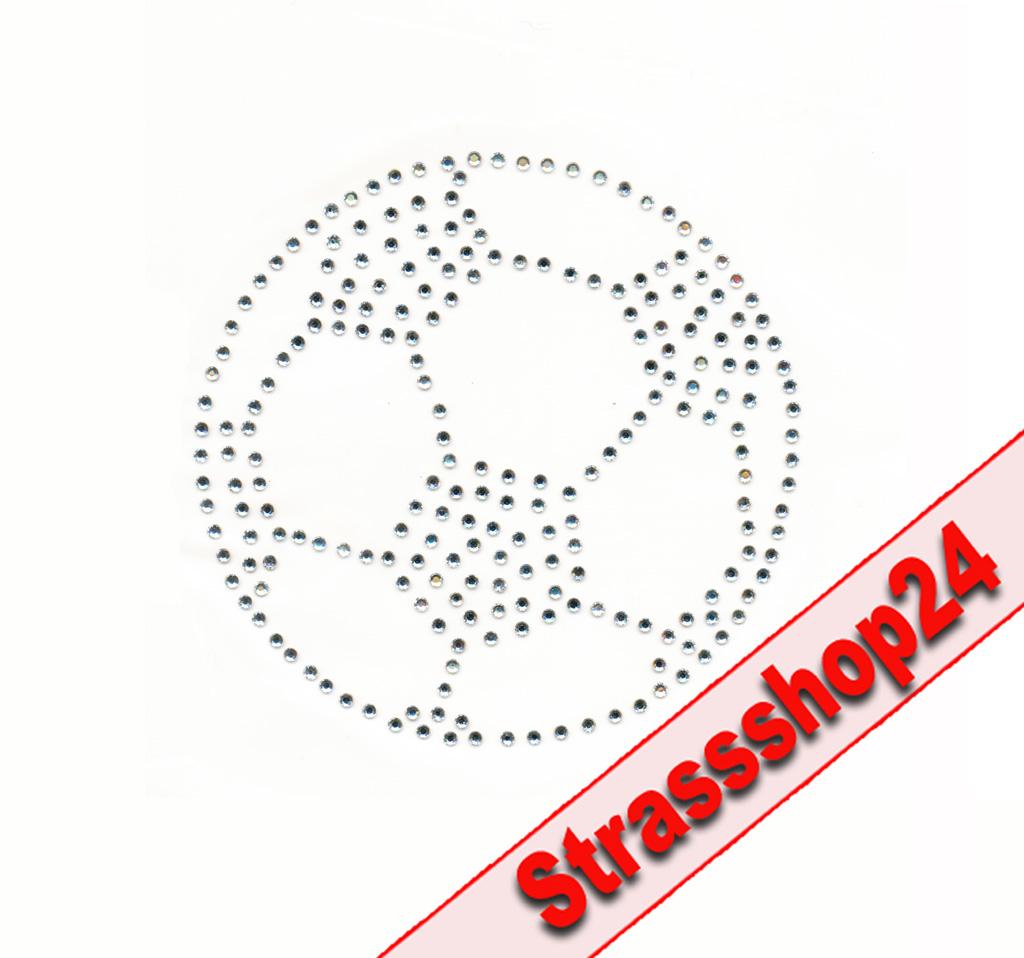 Strass Bügelbild Hotfix Motiv Applikation FUßBALL ca. 8,1 x 8,2 cm