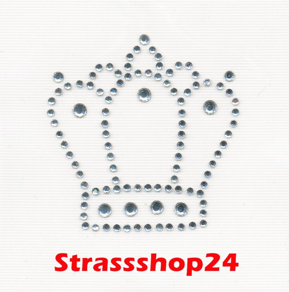 Strass Bügelbild Hotfix Motiv Applikation KLEINE KRONE ca. 5,1 x 5,3cm