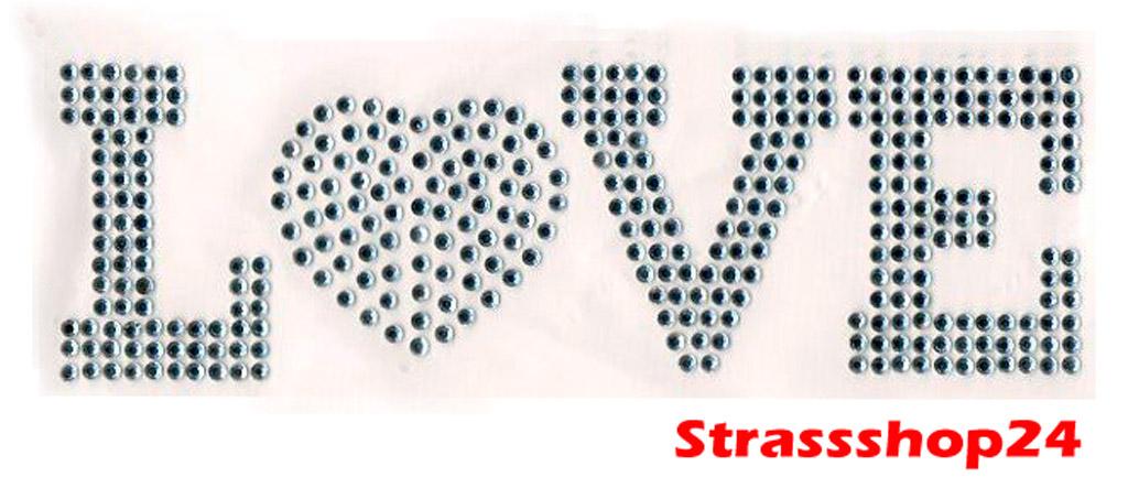 Strass Bügelbild Hotfix Motiv Applikation LOVE ca.16 x 5cm