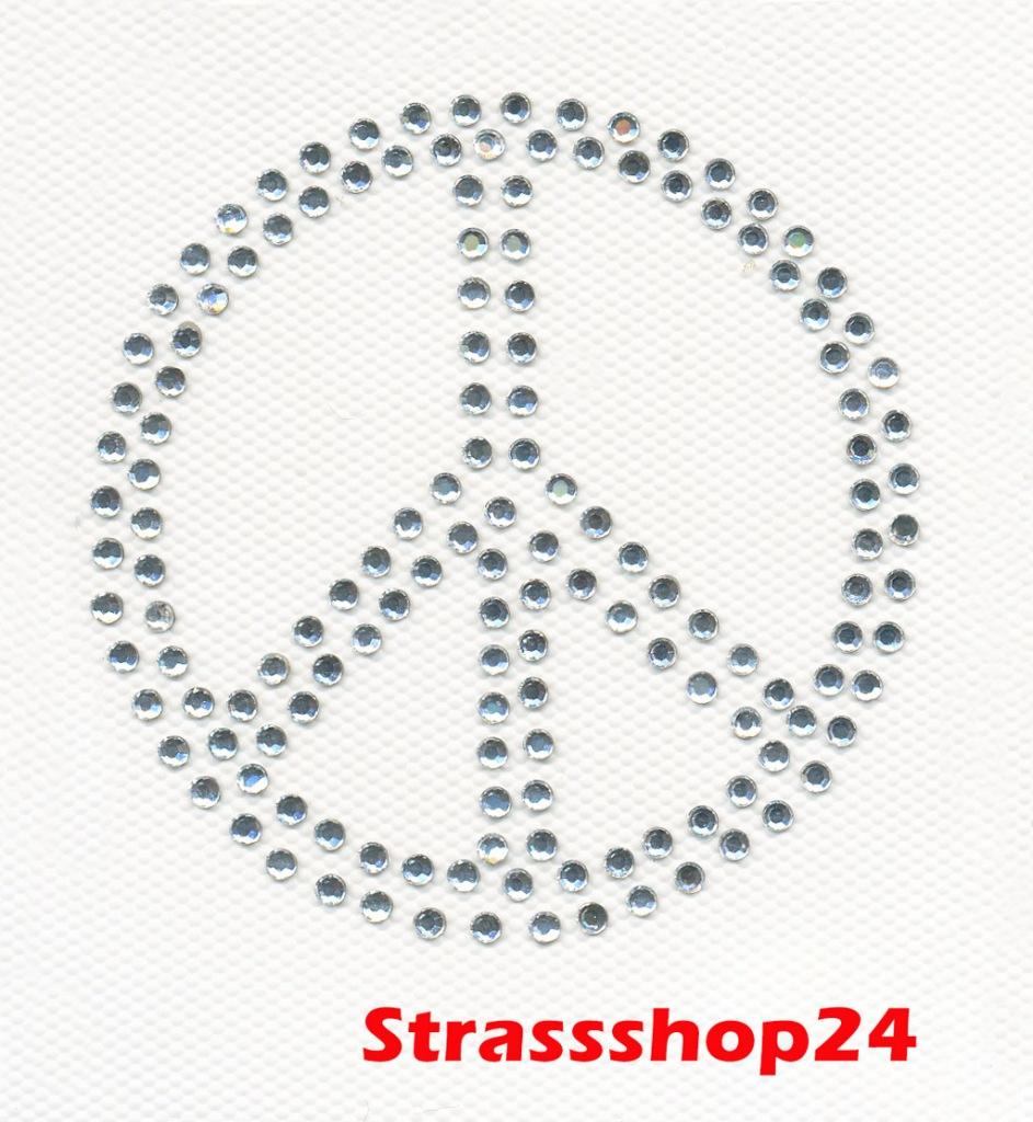 Strass Bügelbild Hotfix Motiv Applikation PEACE ca. 7,4 x 7,4cm