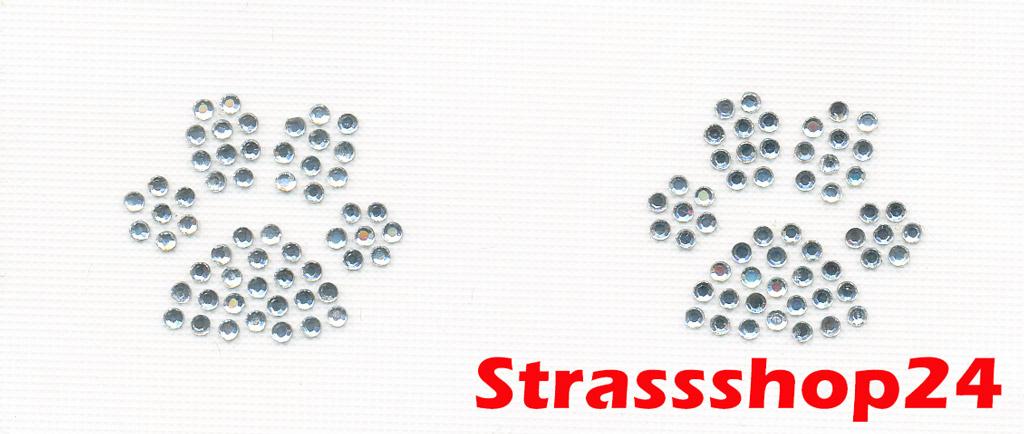 Strass Bügelbild Hotfix Motiv Applikation ZWEI PFÖTCHEN ca. 2,3 x 2,6cm