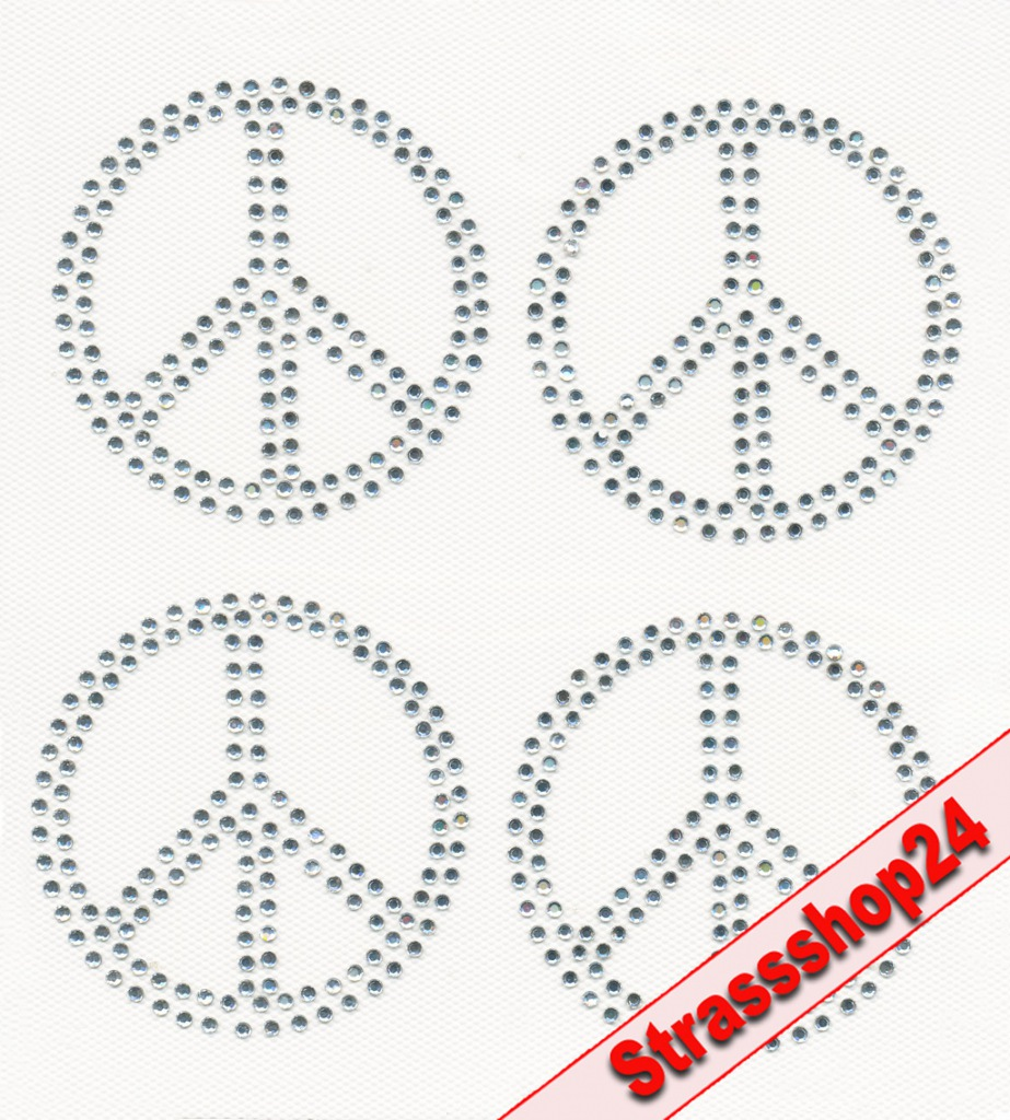Strass Bügelbilder Hotfix Motive Applikationen PEACE ca. 7,4 x 7,4cm