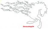 Strass Bügelbild Hotfix Motiv Applikation FEUERPFERD ca. 17 x 9,5cm