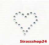 Strass Bügelbild Hotfix Motiv Applikation HERZCHEN ca. 2,2 x 2,2cm