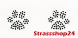 Strass Bügelbilder Hotfix Motive Applikationen PFÖTCHEN ca. 2,3 x 2,6cm