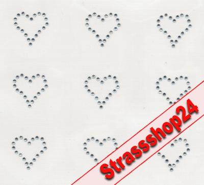 Strass Bügelbilder Hotfix Motive Applikationen HERZCHEN ca. 2,2 x 2,2cm