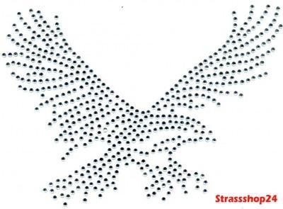 Strass Bügelbild Hotfix Motiv Applikation ADLER ca. 19 x 13cm