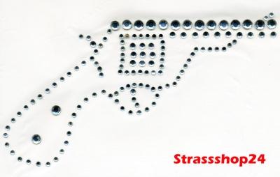 Strass Bügelbild Hotfix Motiv Applikation REVOLVER ca. 17 x 9cm