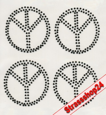 Strass Bügelbilder Hotfix Motive Applikationen PEACE ca. 7,4 x 7,4cm